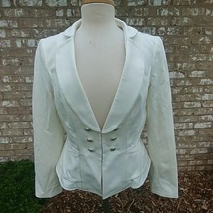 WHBM, Cream Pleated Peplum Blazer, 12